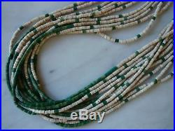 Vintage Santo Domingo 11 Strand Shell Dark Green Turquoise Heishi Necklace