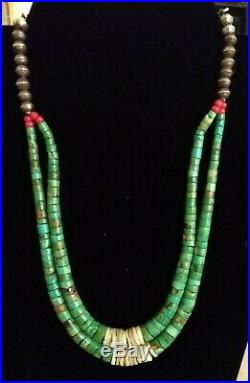 Vintage Santo Domingo 2 strand turquoise heishi, withsterling bench beads necklace