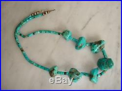 Vintage Santo Domingo Bright Blue Turquoise Nugget Heishi Bead Necklace