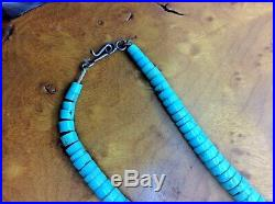 Vintage Santo Domingo Graduated Turquoise Heishi Bead Necklace with Oyster Shell