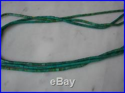 Vintage Santo Domingo Hand Rolled Turquoise Heishi Necklace Gold Filled Cones