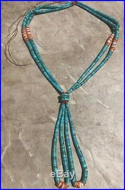 Vintage Santo Domingo Heishi/Jacla Turquoise Spiny Oyster Red Coral Necklace