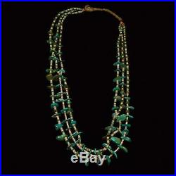 Vintage Santo Domingo Heishi Turquoise Nugget Heishi and Shell 4-Strand Necklace