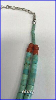 Vintage Santo Domingo Heishi Turquoise Two Stand Necklace