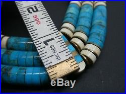Vintage Santo Domingo Inlay Turquoise Heishi Sterling Three Strand Necklace 17