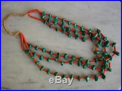 Vintage Santo Domingo Kingman Turquoise Nugget & Natural Coral Heishi Necklace
