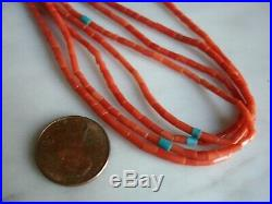 Vintage Santo Domingo Mediterranean Coral Heishi Turquoise Accent Necklace