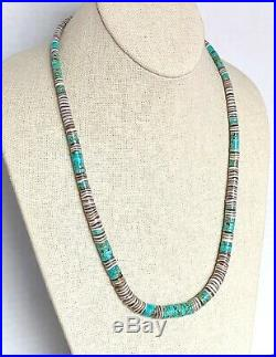 Vintage Santo Domingo Natural Turquoise Shell Heishi Bead Necklace 24