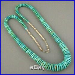 Vintage Santo Domingo Sterling Graduated Natural Turquoise Heishi Necklace 60 Gm