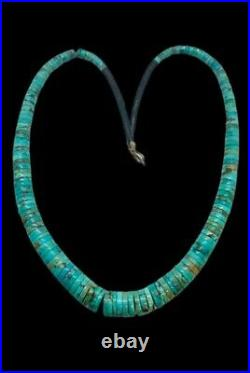Vintage Santo Domingo Sterling Natural Turquoise Heishi Beaded Necklace