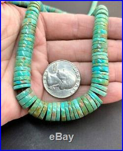 Vintage Santo Domingo Sterling Nevada Green Turquoise Heishi Bead Necklace 19.5