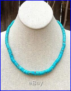 Vintage Santo Domingo Sterling Silver Blue Turquoise Heishi Bead Necklace 18.5