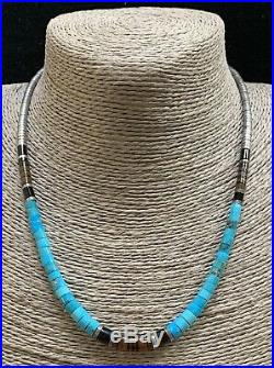 Vintage Santo Domingo Sterling Silver Turquoise Heishi Bead Necklace 18 Inches