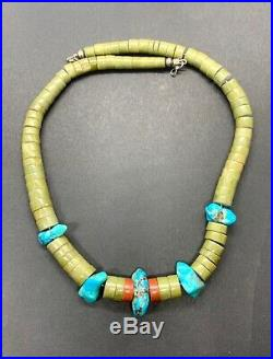 Vintage Santo Domingo Sterling Turquoise Pipestone Heishi Bead Necklace 19