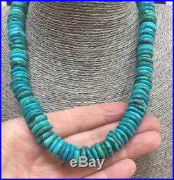 Vintage Santo Domingo Turquoise 14 MM Thick Disk Heishi Bead Pueblo Necklace