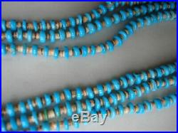 Vintage Santo Domingo Turquoise Heishi 3 Strand Necklace 31 Inch 58 Grams