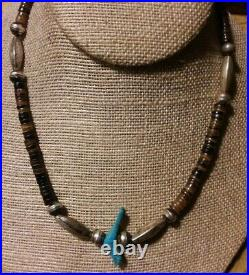 Vintage Santo Domingo Turquoise Heishi Necklace Sterling Bench Melon Beads