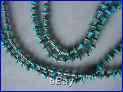 Vintage Santo Domingo Turquoise Nugget Shell Heishi Necklace 30 Inch 56 Gm