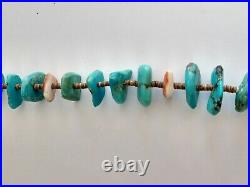 Vintage Santo Domingo Turquoise Spiny Oyster Heishi Shell Necklace Old 32