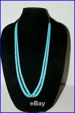 Vintage Santo Domingo graduated Faux Turquoise Heishi Necklace two Strand Tied