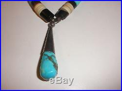 Vintage Santo Domingo sterling silver Heishi turquoise Necklace