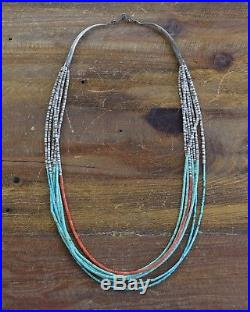 Vintage Southwestern 7 Strand Turquoise and Coral Heishi Necklace