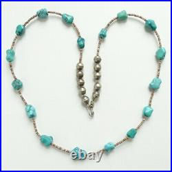 Vintage Southwestern Necklace Heishi Bead Turquoise Nugget Sterling Beads 24inch