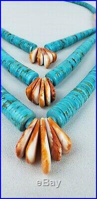 Vintage Southwestern Royson Turquoise Heishi Disk Necklace Spiny Oyster Shell