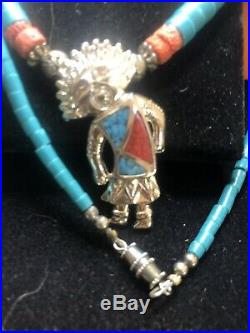 Vintage Sterling Native American Turquoise Coral Katchina Heishi Necklace Ring