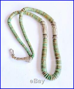 Vintage Sterling Navajo Pearl Green Royston Turquoise Heishi Bead Necklace 23