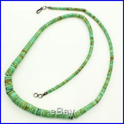 Vintage Sterling Silver Graduated GREEN TURQUOISE HEISHI ROLLED BEAD NECKLACE