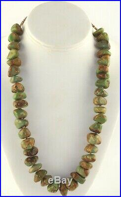 Vintage Sterling Silver Heishi Green Brown Royston Turquoise Necklace 152 grams