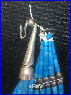 Vintage Sterling Silver Native American Heishi Necklace Turquoise Santo Domingo
