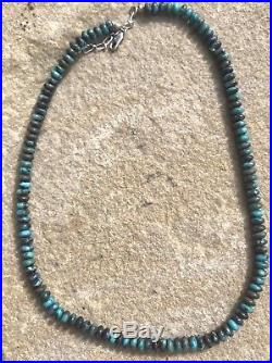 Vintage Sterling Silver Navajo Turquoise Heishi Bead Necklace adjustable 17-19