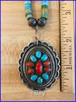 Vintage Sterling Silver Turquoise Coin Disk Heishi Necklace with Large Pendant 925