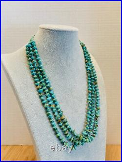 Vintage Sterling silver Native American turquoise & Heishi 26 necklace