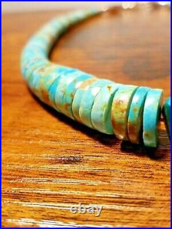 Vintage TURQUOISE HEISHI Sterling Navajo Native American Graduated Necklace 20