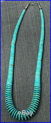 Vintage Thick LARGE Turquoise Heishi Disc Navajo Sterling Silver 24 Necklace