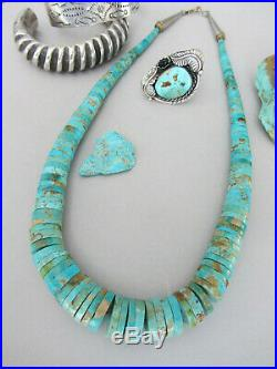 Vintage Thick Massive Royston Turquoise Heishi Navajo STATEMENT 19.75 Necklace