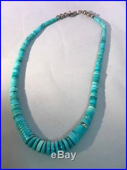 Vintage Turquoise Disc Necklace Heishi Necklace Statement Necklace Free Ship