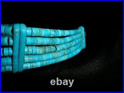 Vintage Turquoise Hand Carved Heishi Navajo American Indian Sterling Choker