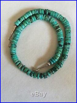 Vintage Turquoise Heishi Bead Necklace Sterling Silver 17.5 Long