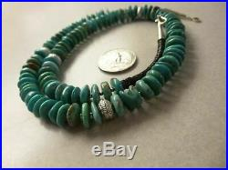Vintage Turquoise Heishi Bead & Sterling Silver Native American Navajo Necklace
