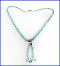 Vintage Turquoise Heishi Graduated Bead Necklace, with Silver beads