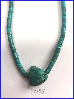 Vintage Turquoise Heishi Necklace with Silver clasp