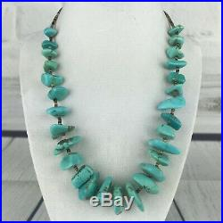 Vintage Turquoise Native American Necklace Nugget and Heishi Shell Bead 19 Inch