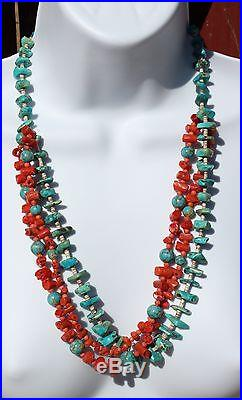 Vintage Turquoise Natural Red Coral Heishi Beads 3 Strand Necklace 25.5L