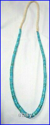 Vintage Turquoise Natural Rolled Navajo Heishi Beads Wrapped 32 Necklace 65.2 g
