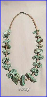 Vintage Turquoise Navajo Necklace Large Nugget with Heishi Shell Necklace 28