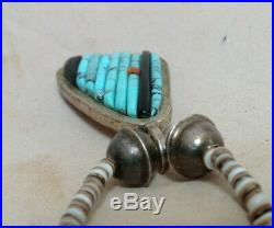 Vintage Turquoise Raised Inlay Red Coral Pendant Heishi Necklace Choker